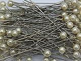 100 Perlennadeln Perlen Anstecknadeln Hochzeitsnadeln Nadel D 6mm L 65mm Pelkopf Dekonadel, Farbe:champagner