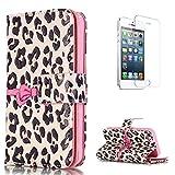 CaseHome Compatible for iPhone SE/5S/5 Caso Custodie Portafoglio Stile del Libro del Foglio Magnetica Stand Custodia in Pelle Protettiva Shell-Brown Leopard