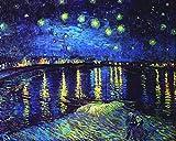 Kunstdruck auf Leinwand. Sternennacht über der Rhône. Bild von Vincent Van Gogh