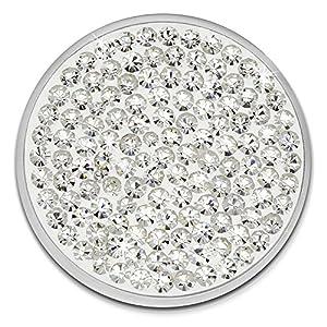 Amello Coin Edelstahl-Schmuck Coin mit Zirkonia weiß – Coin für Amello Coinsfassung für Damen – – 30 mm, Größe M Edelstahlschmuck Stainless Steel ESC301W