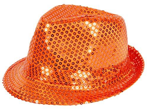 Alsino Sequin   Glitter Hat - Sequins Disco Club Style Party Trilby Fedora Bogart -  orange -