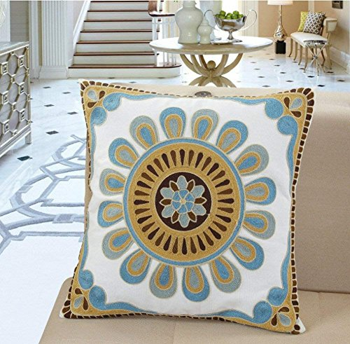 Dok Ali Blue Cotton Cushion Cover Hand Made National Embroidery Bohemian Housewarming Car Home Decoration Cushion Cover/Throw Pillow Cover (Pattern-4) (4-panel-natural Finish)