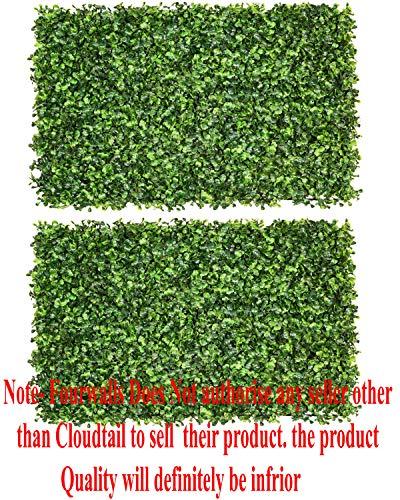 Fourwalls Artificial PVC Eucalyptus Boxwood Tiles (60 cm x 40 cm x 2 cm, Green, Set of 2, MAT EQUALIPTUS 40 X 60 N366/R794/1175/S2)