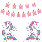 Pop The Party Unicorn Foil Mylar Balloon For Birthday Theme party Decoration (Pack of 4) (Unicorn Happy Birthday Banner Pink)