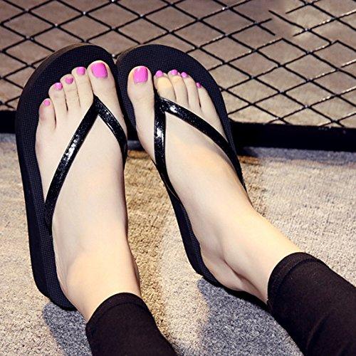 ZHANGRONG-- Les gens glissent les pantoufles d'été Chaussons de mode Chaussons antidérapants à nœuds d'arc Pente de fond plat avec des pantoufles de refroidissement d'usure (5 couleurs en option) (tai B
