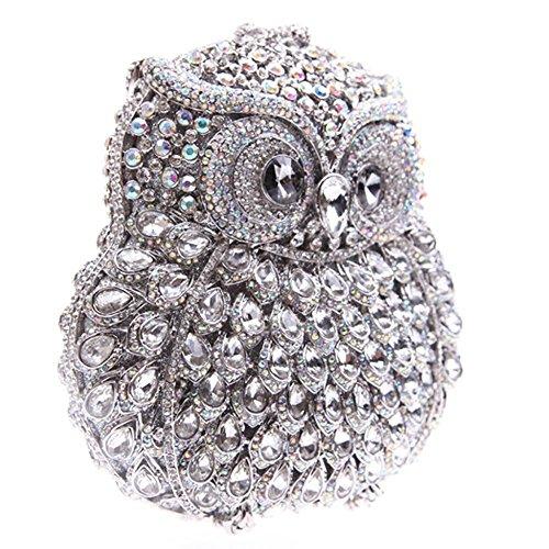 Santimon Clutch Delle Donne 3D Guto Diamante Cristallo Borsellini Borse Da Festa di Nozze Sera Con Tracolla Amovibile E Pacco Regalo 13 Colori AB argento