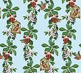 blaue, schöne Tapete: Die Apfelkirsche mit Vögeln, Blüten und Kirschen für Gartenfreunde - Vlies Tapete Blumen Obst Tiere - Klassische Wanddeko - GMM Design Tapete - Wandtapete - Wand Dekoration für edle Wohnakzente (Höhe 3m Breite 46,5cm)