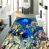 Chlwx 300cmX200cm (118.1inX78.10in) 3D-Mediterranen Schwarm Von Fischen Stock Wallpaper Wasserdicht Für Badezimmer 3D-Landschaft Tapeten Für Kinder Wandverkleidungen