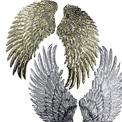 2 Pairs Embroidered iron on patches for clothes Wings design sequins Motif Applique by Sdetter,Golden &