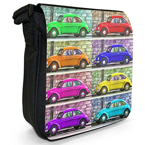 Old Classic, auto-Borsa a tracolla in tela, piccola, colore: nero, taglia: S Nero (Old Classic Pop Art Beetle Car)