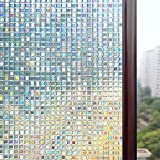 Rabbitgoo® Static Cling Window Film 3D Premium No-Glue Reusable Decorative Privacy Frost Glass Window Film Sticker Anti-UV |Mosaic Design|THICK Upgrade Version for Home Kitchen Office 44.5Cm x 200Cm