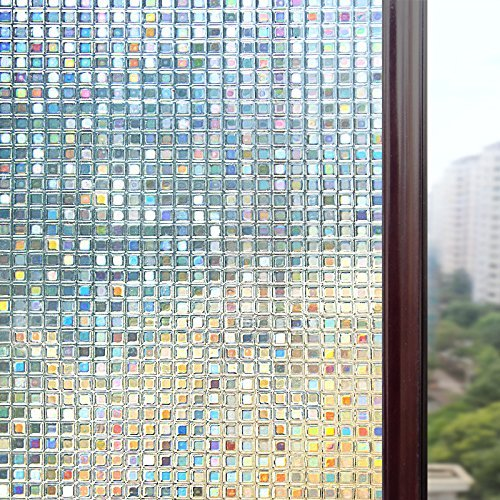 Rabbitgoo® Static Cling Window Film 3D Premium No-Glue Reusable Decorative Privacy Frost Glass Window Film Sticker Anti-UV |Mosaic Design|Transparent Mosaic Film with Gradient Color under Sunlight|THICK Upgrade Version for Home Kitchen Office 44.5Cm x 200