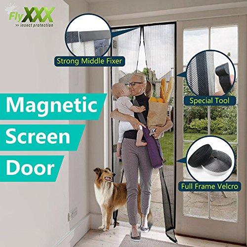Magnet Fliegengitter Tür Insektenschutz Balkontür 110x220cm Easy Install Anti-Mosquito Insekt Freundlich Hände frei Magnetisch Haus Schutz Netting mit Schwer Pflicht Schneidbar