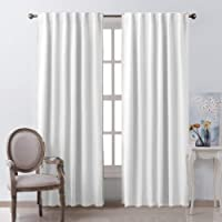Linenwalas Cotton Curtains for Window Linen Textured, Hangs Elegantly with Back Loops Non Blackout (2pcs Each 4.5ftx5ft, White)