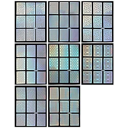 BMC 8pc Holographique Modèle Mixte Ongles Manucure Guide De L'Art Autocollant Ensemble Paquet - Set 3, , L, Large
