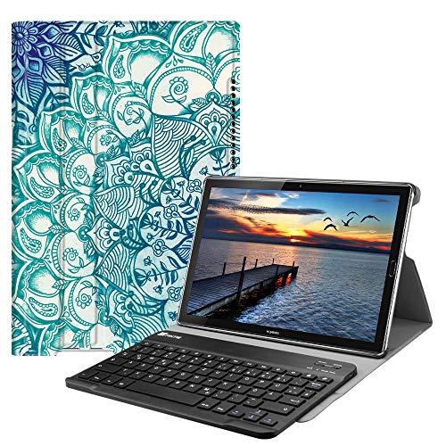 Fintie Huawei Mediapad M5 10.8/10.8 Pro QWERTZ Bluetooth Tastatur Hülle - Ständer Schutzhülle mit Magnetisch Abnehmbarer Drahtloser Deutscher Bluetooth Tastatur für Huawei M5 10,8 Zoll, Smaragdblau