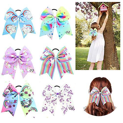 Rainbow Unicorn Pferdeschwanz-Schleife für Mädchen, bunt, mit elastischen Haarbändern, 17,8 cm, 6 Stück