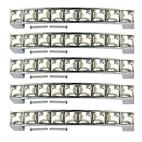 PsmGoods® Strass Glas Diamant Kristall Schublade Knöpfe Europa Stil Möbel Tür Pull Griff für Dresser Schrank Schrank Küche Bad Knöpfe (96MM, Silber)
