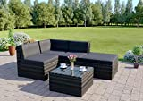 Rattan Wicker Weave Garden Furniture Conservatory Modular Corner Sofa Set Includes Outdoor Protective Cover (5 Piece Dark Mix Grey/Dark Cushions Faro)