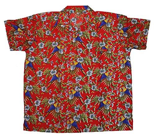 SAITARK-Camisa-casual-con-botones-para-hombre-multicolor-RED-SP-X-Large