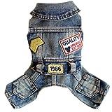 Ai.Moichien Hunde Kleidung Blue Jeans Overalls Hosen Overall Outfits Plus Size Party Haustier-Klage mit Tasche XS-XXL