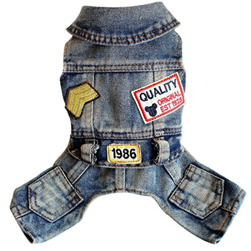 Ai.Moichien Hunde Kleidung Blue Jeans Overalls Hosen Overall Outfits Plus Size Party Haustier-Klage mit Tasche ()