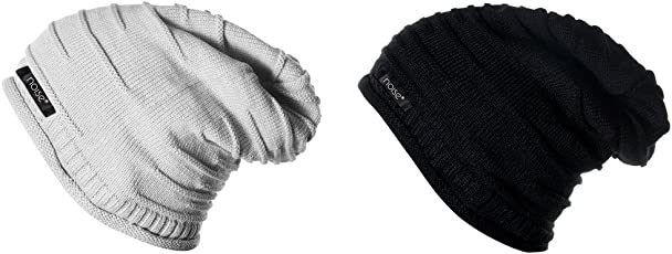 Noise Combo of Grey Wrinkled and Black Wrinkled Winter Beanie Cap
