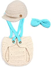 Cute Baby Crochet Cap Beanie with Suspenders Bowtie Diaper Cover Outfit Halloween Costume Photo Props
