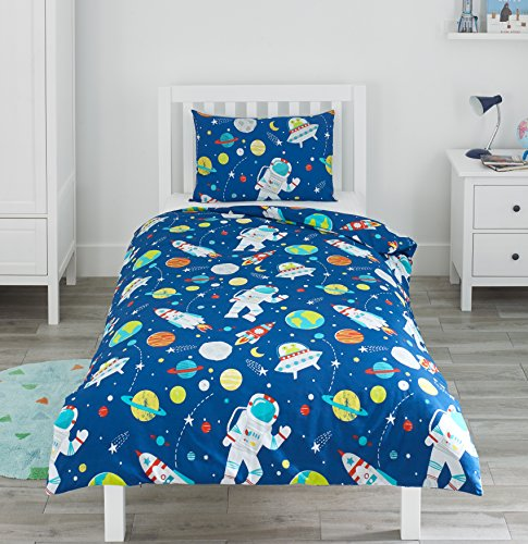 Bloomsbury Mill Outer Space, Rocket & Planet - Kids Bedding Set - Blue - Single Duvet Cover & Pillowcase
