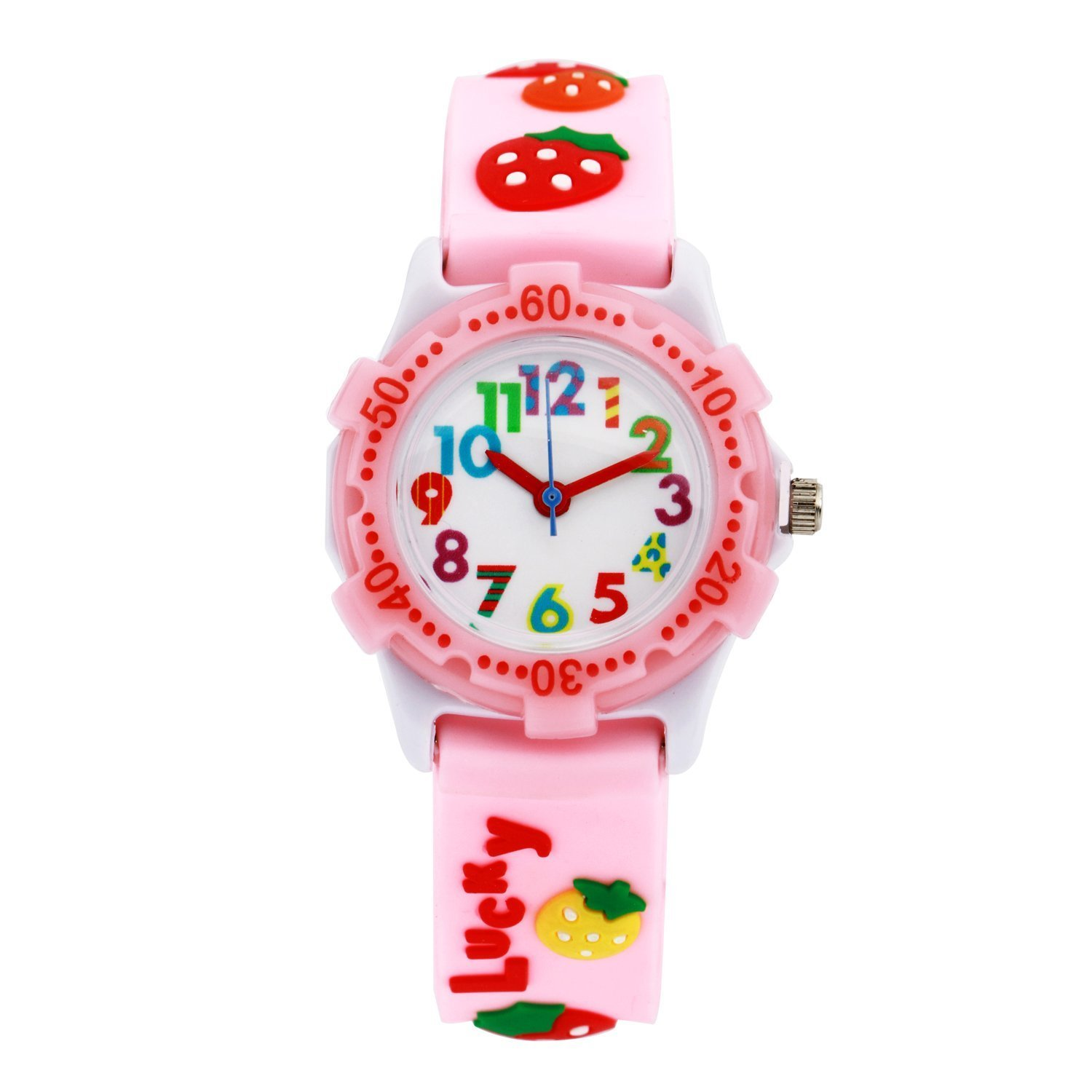 ParaCity Waterproof 3D Cute Cartoon Digital Silicone Wristwatches Time Teacher Gift for Little Girls Boy Kids Children (Pink Purple Strawberry)