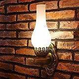 Anbiratlesn E27 Vintage Wandlampe für Schlafzimmer Wohnzimmer Korridor Badezimmer Küche Alte Öllampe Lampe Retro Bed Head blaues Licht transparentschirm