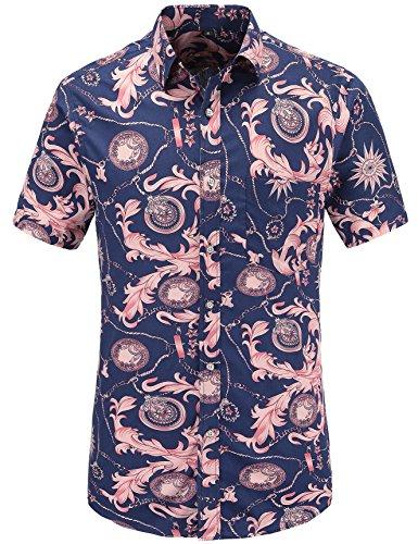 JEETOO Herren Sommer Regular Fit Kurzarm Shirts Segelschiff/Vogel/Blumen/Flamingos/Druck Freizeit Aloha Hawaii Hemd (XX-Large, Rosa)