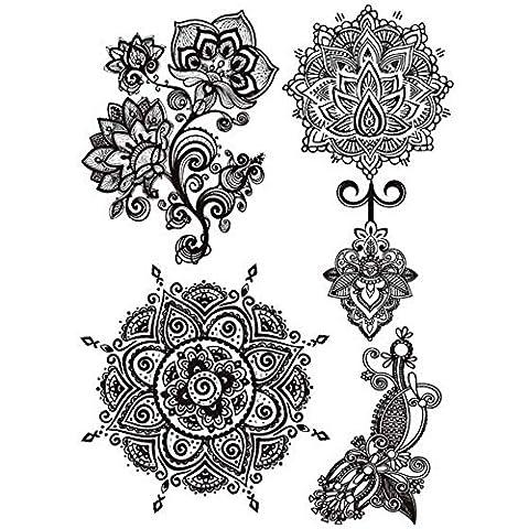 COKOHAPPY Noir Dentelle Temporaire Tatouage Lotus Mandala Indien Totem Henné