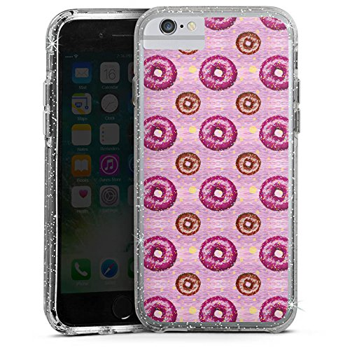Apple iPhone 6 Plus Bumper Hülle Bumper Case Glitzer Hülle Donut Party Pink Braun Bumper Case Glitzer silber