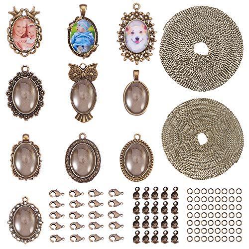 SUNNYCLUE 10 Sets Assortimento di cabochon incorniciati cornice vassoio pendenti con ciondolo ovale trasparente cupola di vetro per foto fai da te gioielli artigianali fare collana, bronzo antico