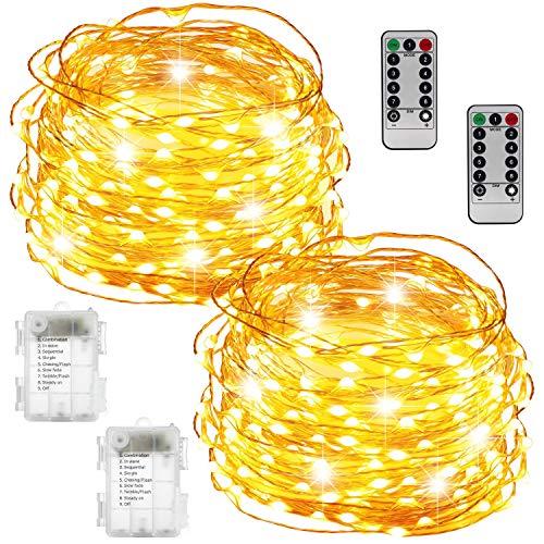 Bicolor Lichterkette Batterie, 33ft 100 LED Lichterkette 8 Modi Außenbeleuchtung Batteriebetrieben Kupferdraht wasserdichte mit Fernbedienung für Innen/Außen Weihnachten Dekoration(Warmes weiß)