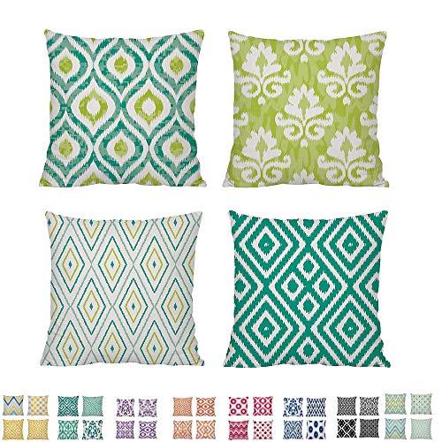 Comoco Conjunto de 4 Casa Amortiguar Coordinado Geométrico Digital Impresión Decorativo Lanzar Almohada...