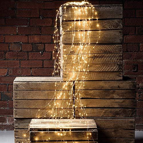 Solarbetriebene Filial-Färenlichter, 10 Strands 200 Leds wasserdichte Timbo String Lights Wasserfall Dekorative Silberdraht-Solarleuchten für Outdoor, Garten, Party, Hochzeit, Weihnachtsbaum