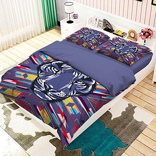 AJ Wallaper UK 7 3D Malerei Lila Tiger Abstrakte 80 Kissenbezüge Steppdecke Bettwäsche-Set für Einzel- und Kingsize-Bett Tiger Wallpaper Set
