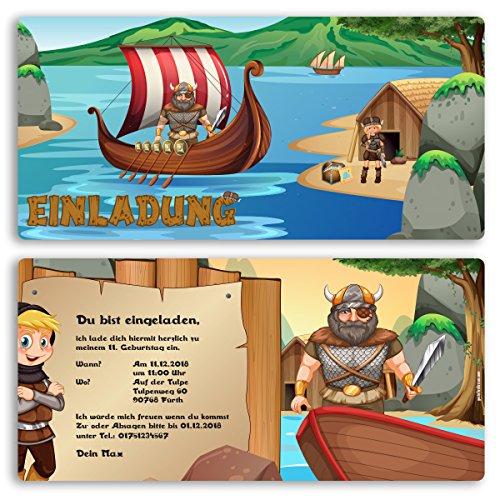 (15 x) Einladungskarten Kindergeburtstag Wikinger Kinder Einladungen Geburtstag