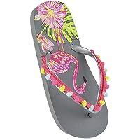 Girls Kids Flamingo Flip Flops with Pom Pom