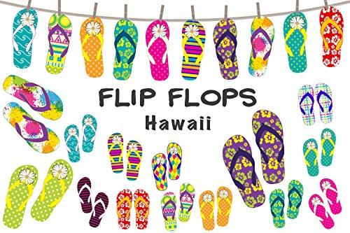 Anokay Hawaii Deko Girlande Party - Girlanden Flip Flop - Strand Sommer Dekoration (Eisbecher Kind Kostüm)