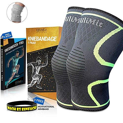 ULIMIT® Kniebandage inkl Ratgeber gegen Knieschmerzen [2er Set] [M-XXL] für Männer & Frauen - Bequeme Sport Knieorthese mit Antirutsch Saum - Knee Support gegen Arthrose, Meniskus, Knieschmerzen