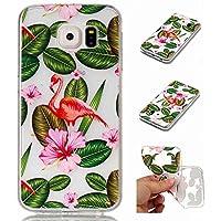 Funda Samsung Galaxy S6 Carcasa + Protector Pantalla MISSDU Silicona Transparente Protector TPU Funda Ultra Fina Slim Híbrida Gel Antichoque Case Proteccion, Flor de Flamenco