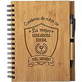 Cuaderno De Notas La Mejor Educadora Social Del Mundo - Libreta Olimpico De Madera Natural Con Boligrafo Regalo Original Tama