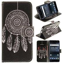 Cover Nokia 5, CLM-Tech sintetica pelle Custodia per Nokia 5 Flip Case Acchiappa Sogni nero bianco [funzione supporto] [slot per schede] [chiusura magnetica] Nokia 5 portafoglio
