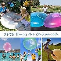 2PCS Bola de Burbuja Inflable, Bola de Burbuja Transparente para niños Big Ball Toy Stretch Sports Ball Super Soft Bubble Ball,Juegos de Deportes acuáticos en la Playa para Jugar al Aire Libre (L)