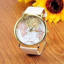 Retro Mapa del mundo reloj de pulsera de cuarzo para mujer color blanco