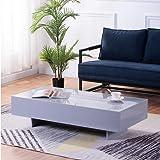 GOLDFAN Table Basse Haute Brillance Table de Canapé en Bois Design Rectangulaire pour Salon de Bureau Gris