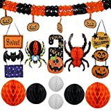 Scare Halloween Party Decorations Assorted Room Pumpkin And Bat Hanging Round Lantern Kit (Pack Of 12), Multicolor